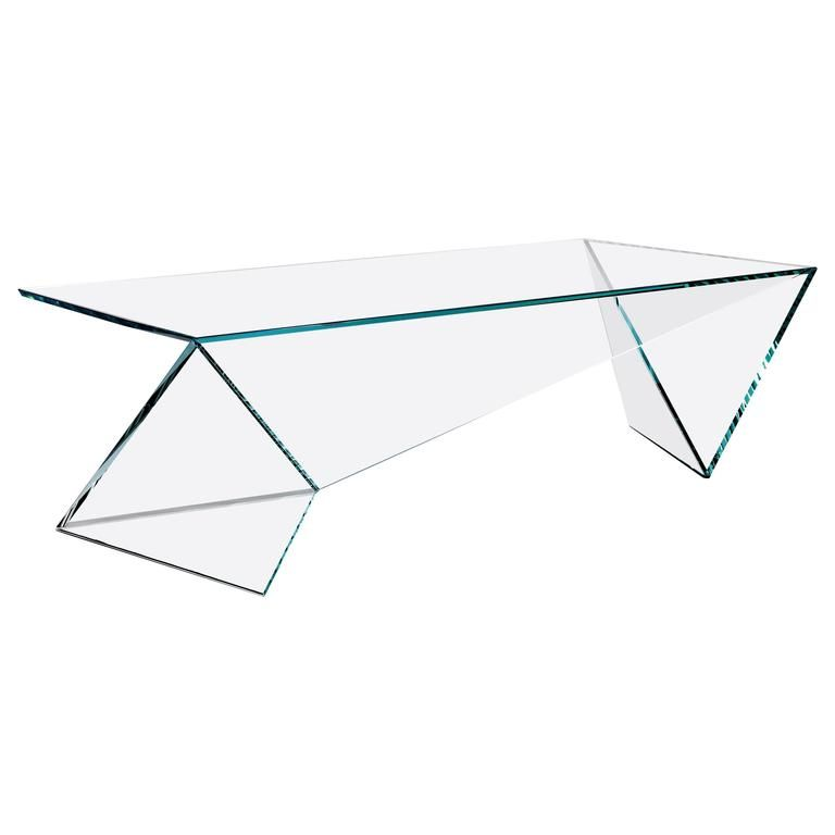Contemporary design side table in crystal glass