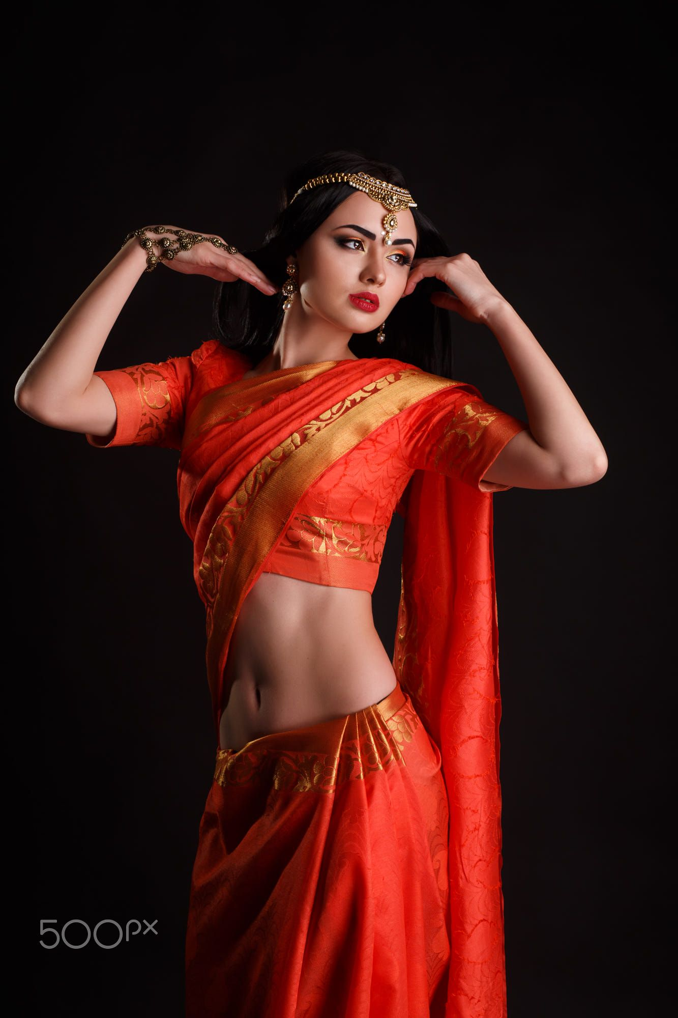 Studio Portrait Of Sexy Girl In Traditional Indian -7210