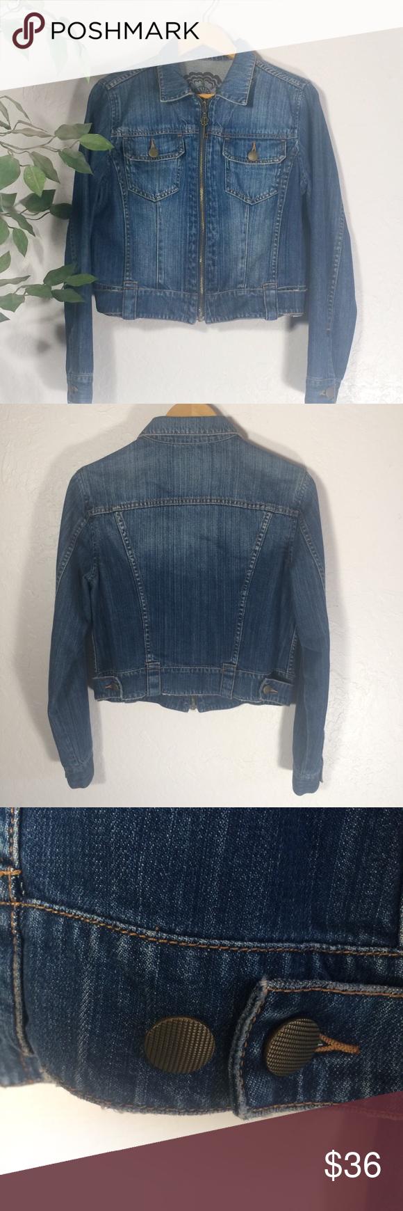 Cabi jean jacket crop reversible key butterfly m in my posh
