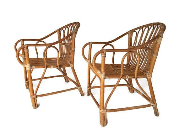 Vintage Bamboo Chairs Franco Albini Style PAIR Rattan Arm Chairs Set Mid  Century Bamboo Chair Pair Matching Lounge Bohemian Decor Set Unique | Arms,  ...