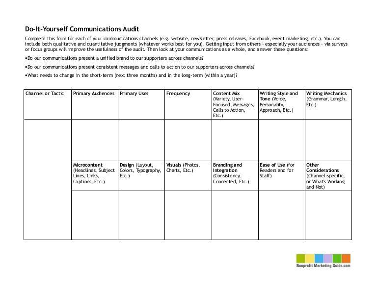 Diy Communications Audit Chart By Kivi Leroux Miller Via