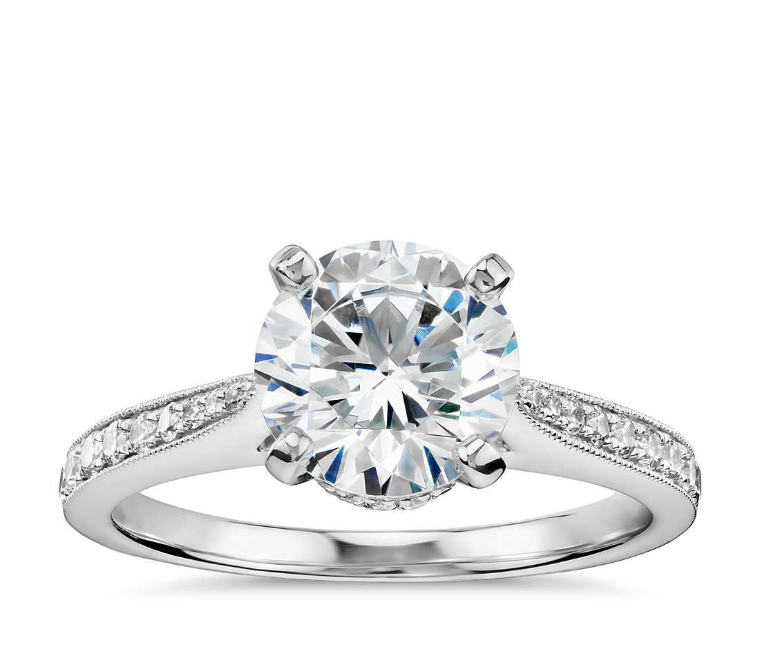 diamond charles fire gold double round ring cttw colvard brilliance prong img brilliant bezel milgrain forever moissanite white products