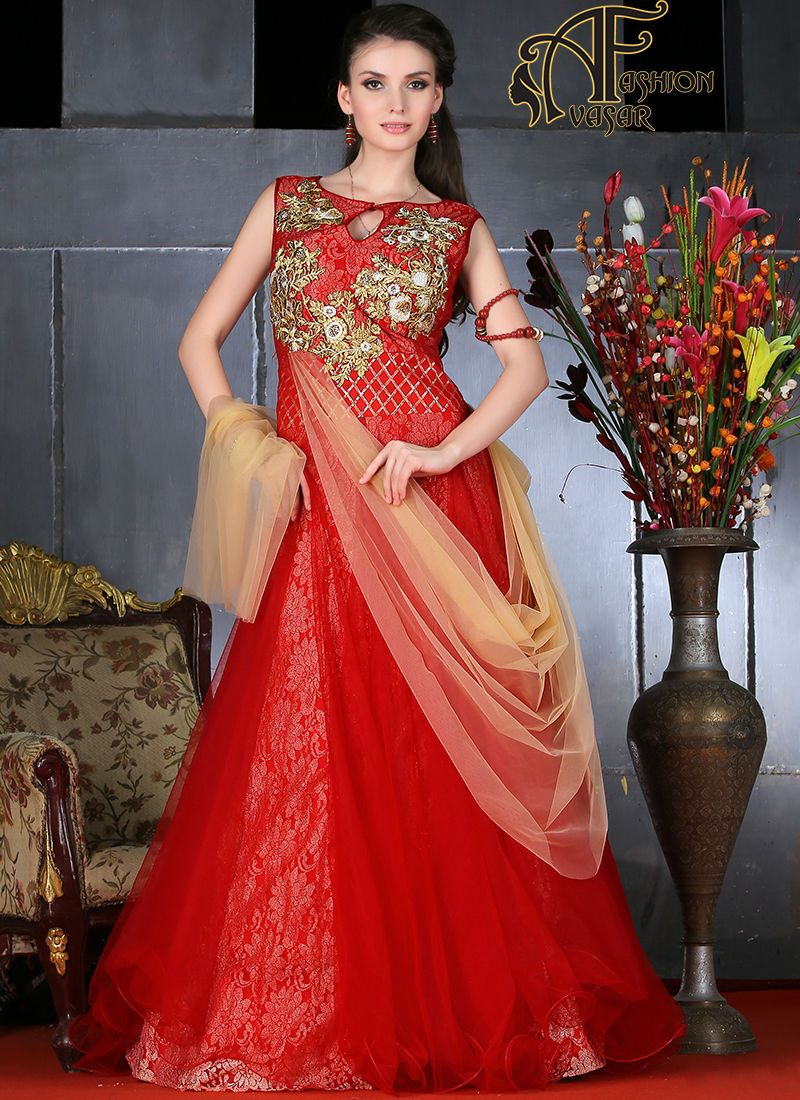 buy party wear gown in india.This Net gown is finished with Red back ...