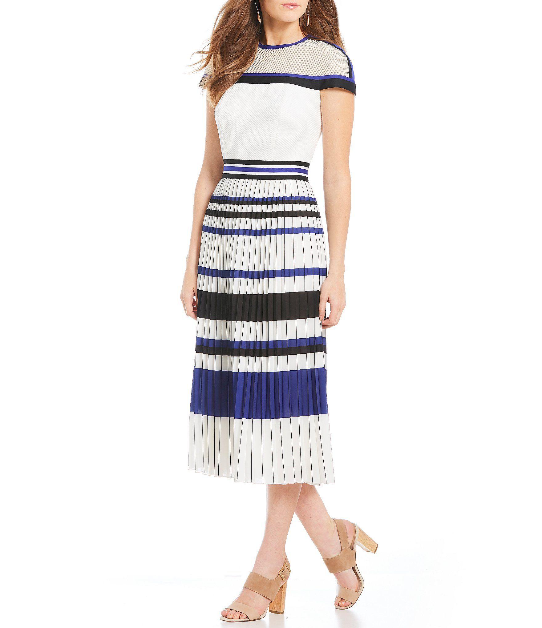 Tadashi Shoji Striped Pleated Midi Dress Dillards Dresses Pleated Dress Casual Dresses [ 2040 x 1760 Pixel ]