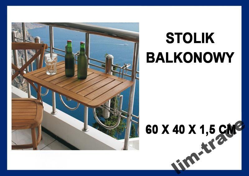 52h Składany Stół Stolik Wiszący Balkonowy Drewno 1 Baaalkon