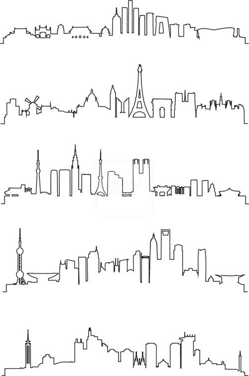 Line Drawing Ks : City line art vector … drawing pinte…