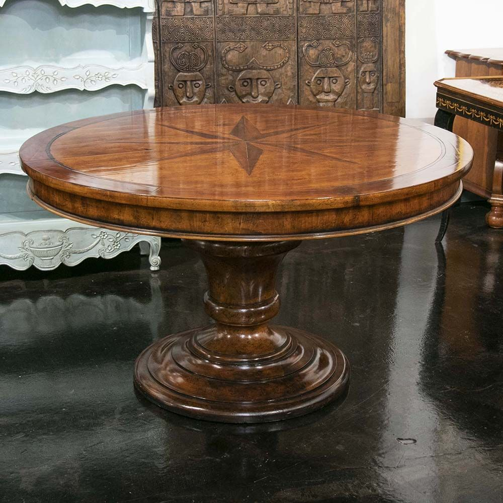 This Dining Table By Henredon Has A Thick Turned Pedestal Column With A Wide Base The Faux Distressed Natural Looki Dining Table Pedestal Dining Table Table