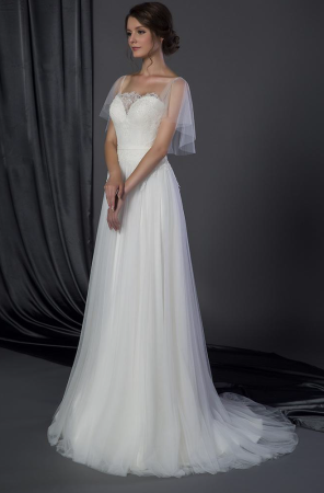 Bridal dress with Flutter sleeve cover up Darius Cordell