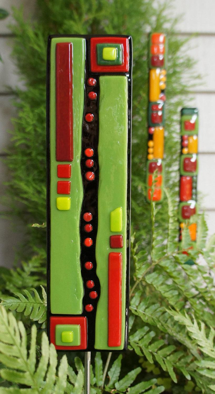 Christmas Ornament - Home Decor - Garden Art - Fused Glass - Black ...