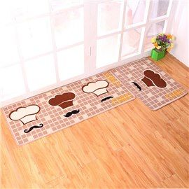 Long Kitchen Rugs Paint Colors For Small Kitchens Creative Chef Hat Pattern 1 Set Things Inside And