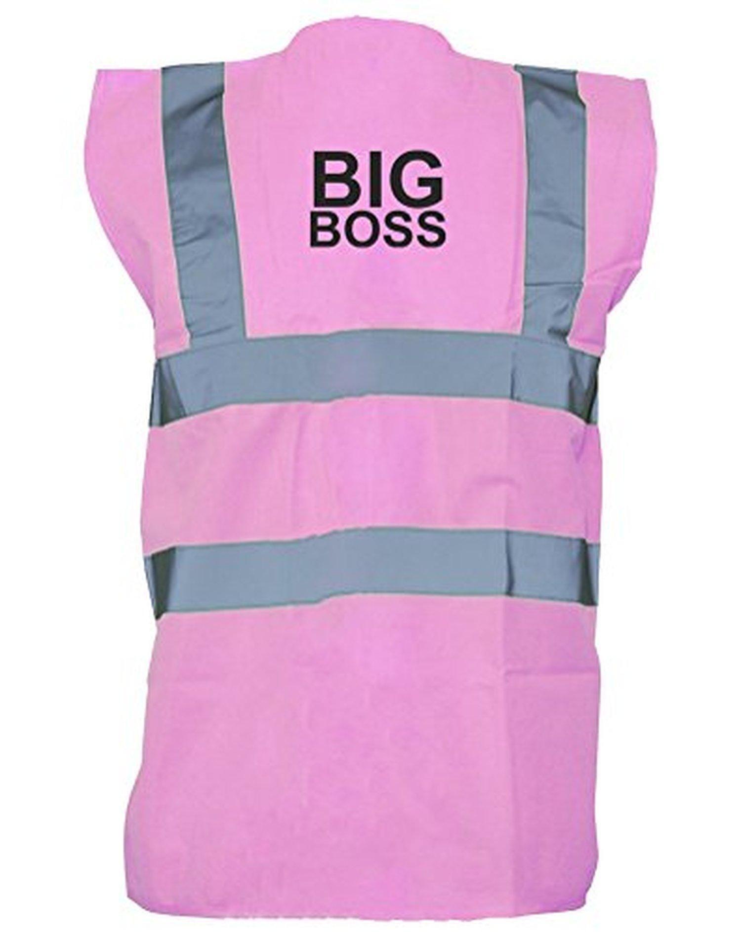 The Big Boss, Printed HiVis Vest Waistcoat Pink/Black L