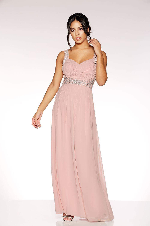 147c345fcb31 Dusky Pink Chiffon V Neck Embellished Maxi Dress - Quiz Clothing ...