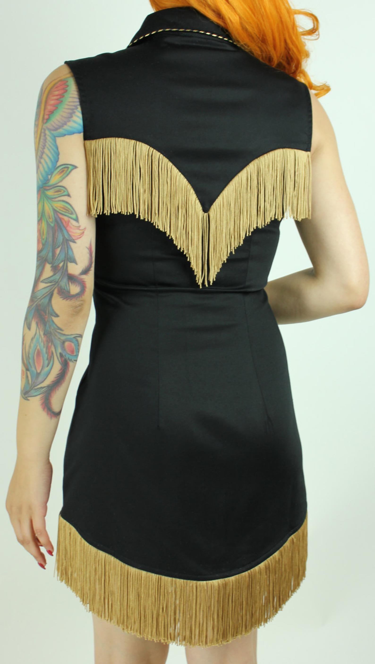 Riley Western Fringe Dress in Black