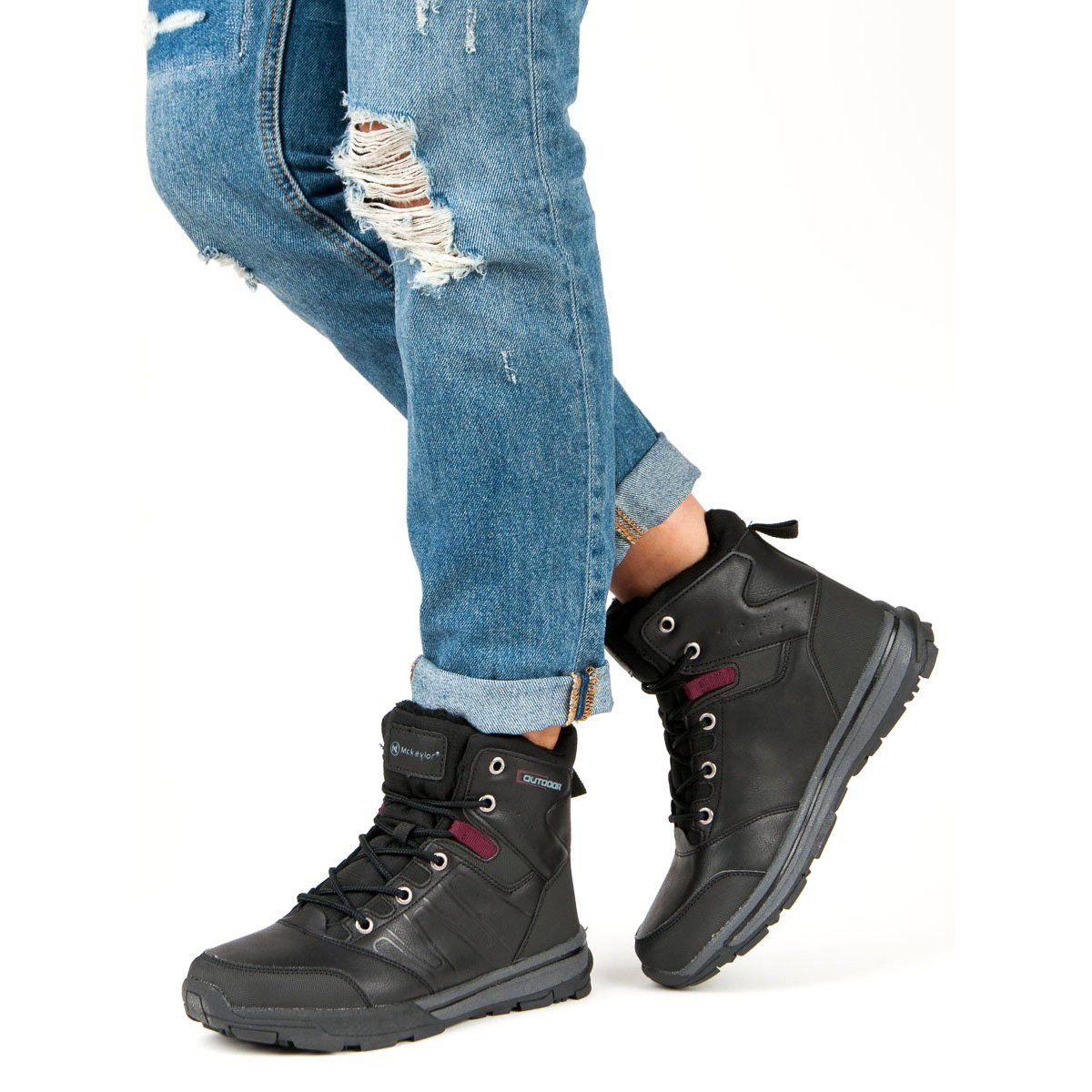 Ax Boxing Ocieplane Buty Trekkingowe Czarne Trekking Shoes Hiking Boots Women Black Shoes