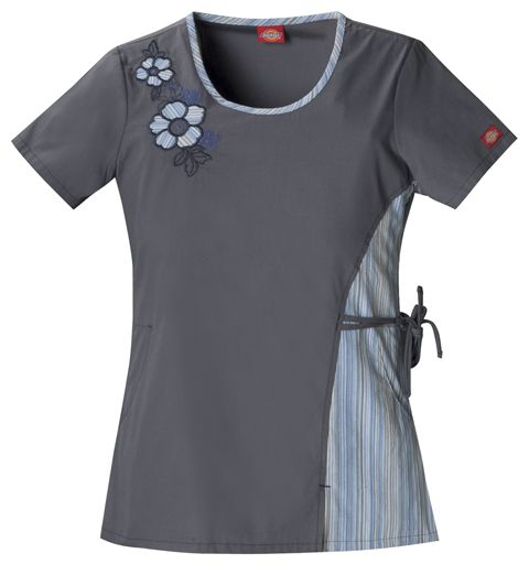 Dickies Jr. Fit Round Neck Embroidered Top | Alegria Cherokee Store #scrubs  #uniforms