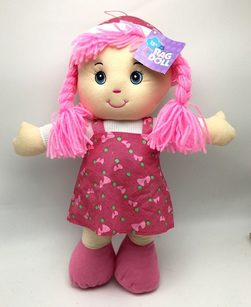 Rag Doll Pink Hair Soft 15 Inch Ages 3+ Kids Toy Girls New