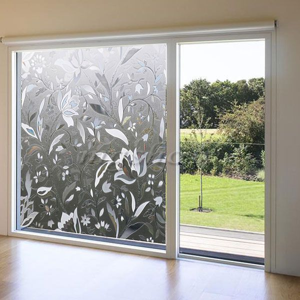 3D 45x100cm Removable PVC Flower Sticker Home Glass Window Film Cover Sheet In Furniture