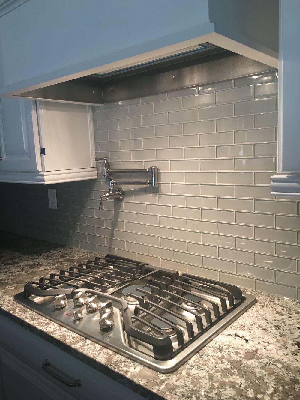 mist glass tile backsplash