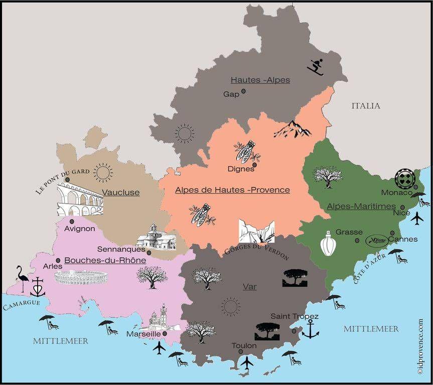 Nordfrankreich Karte.Karte Mit Sehenswürdigkeiten Der Provence In 2019 France