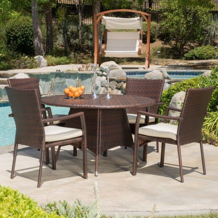 Brown Wicker Patio Set 5 Piece High Back Chair Weather Resistant Round Table Christopherknighthome Wicker Dining Set Patio Outdoor Dining Set