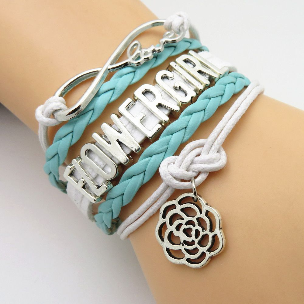 Infinity love mint green wedding party bracelets mint green