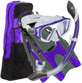 Enjoy the open waters in the Aqua Lung Sport® Diva LX and Island Dry LX Combo. This snorkel set includes everything you need for a fun day on the water! You'll love the ventilated fins, hypoallergenic mask and one-way purge snorkel, plus a travel bag to carry to and from the water! Pivot Dry Technology keeps your snorkel free of water above and below the water's surface. Snorkel like a diva with this awesome Aqua Lung Sport® set!