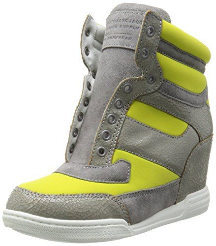 Marc by Marc Jacobs womens high top fashion sneaker yellow grey