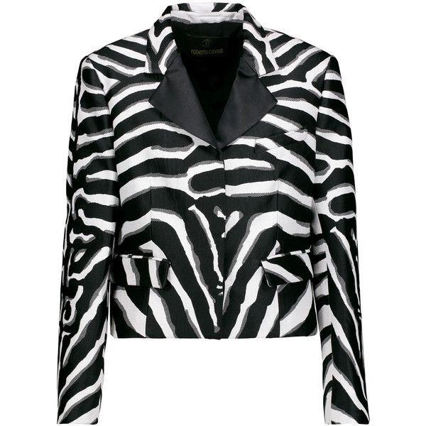Roberto Cavalli Zebra-print silk-blend satin-twill and bouclé blazer ($635