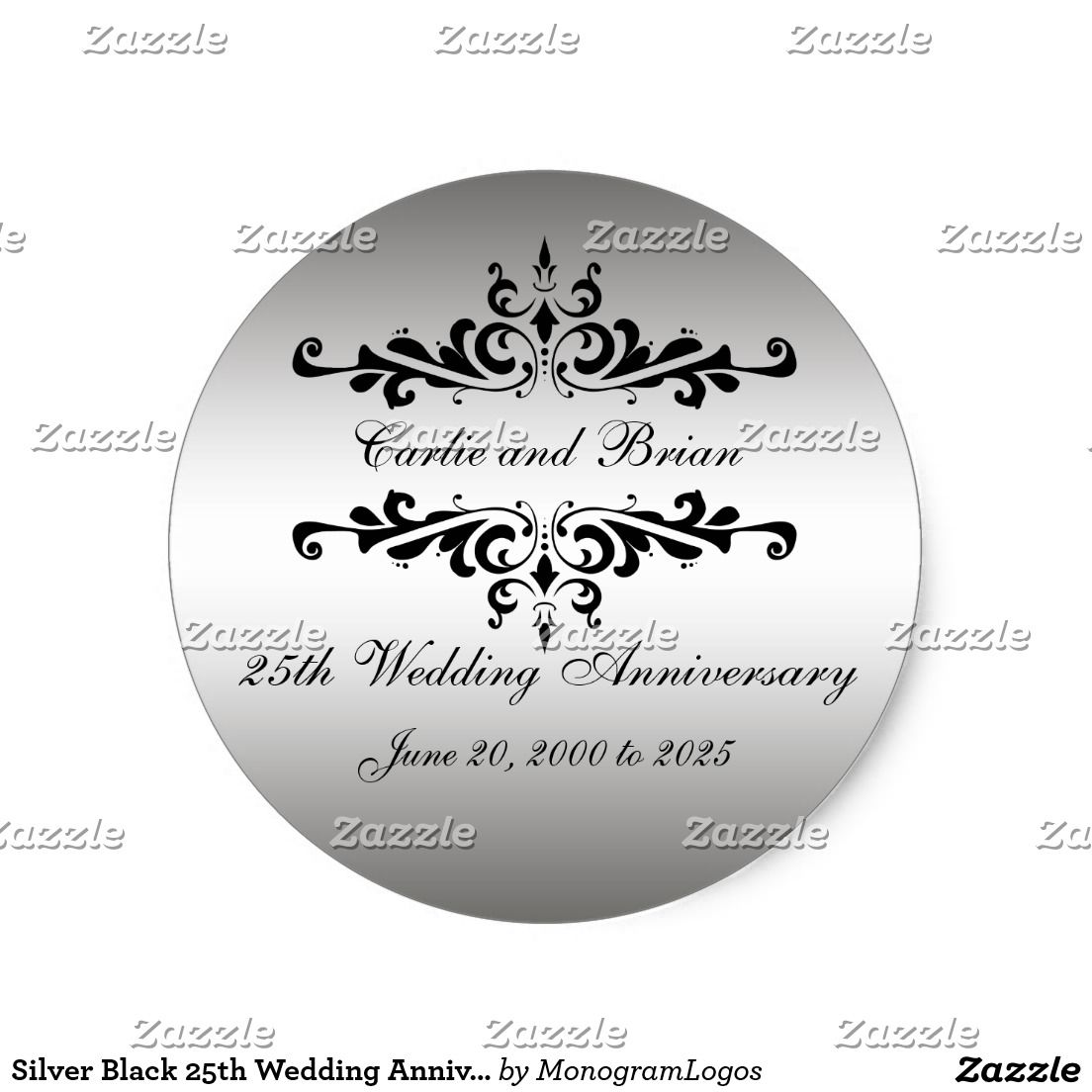Silver Black 25th Wedding Anniversary Stickers | Wedding Favor ...