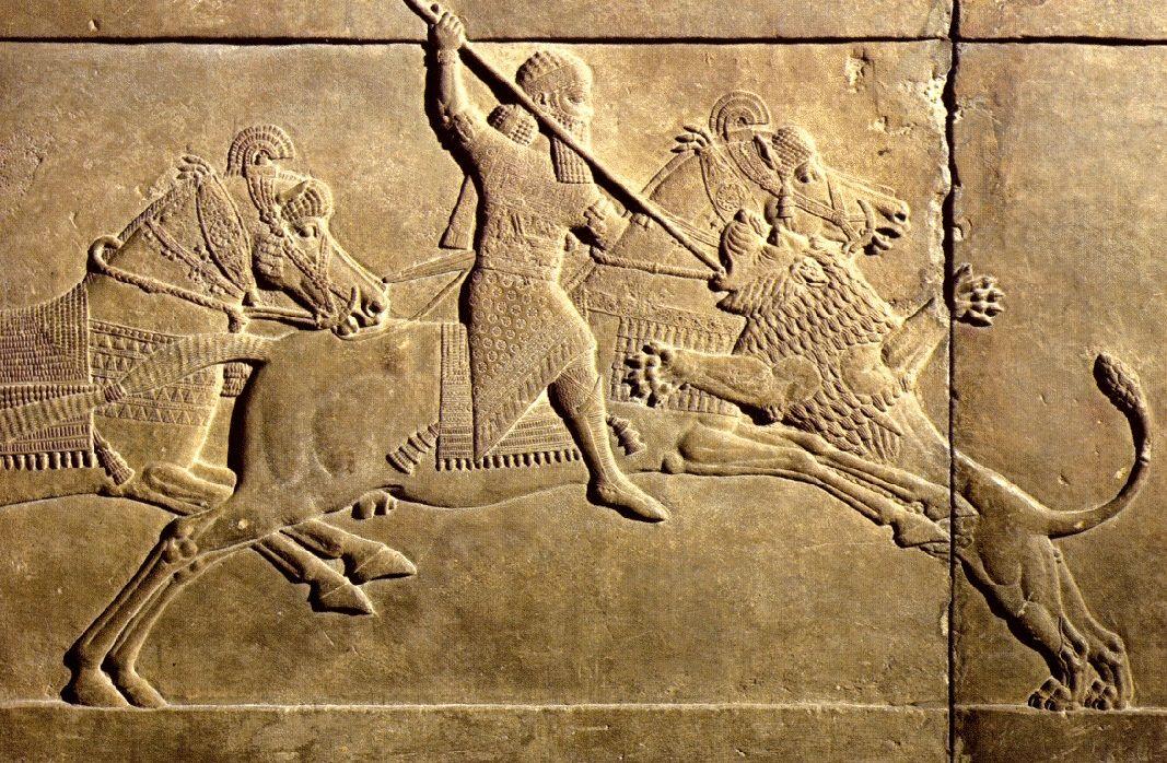 O rei Assurbanipal dedicado à caça do leão, Arte persa.