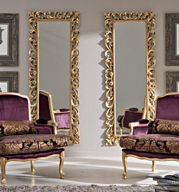 Paris collection large gold wall mirror shown here with for Gold frame floor mirror