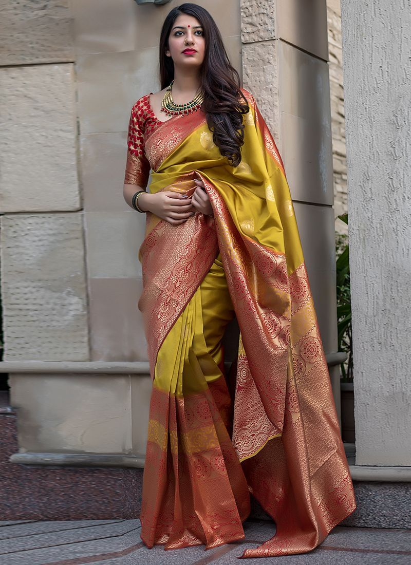 Yellow Colore Kanchipuram Silk Look Saree Indian Traditional Saree Bollywood Style Exclusive Party Wear Soft Lichi Silk Saree