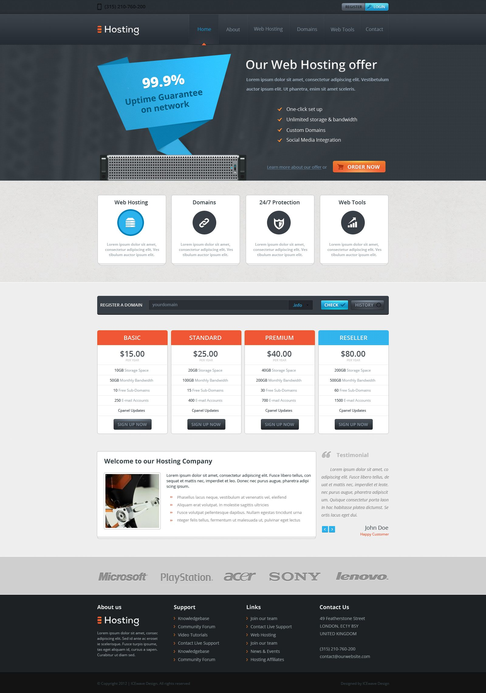 Web Hosting Template by ~ICEwaveGfx on deviantART #webdesign | Web ...