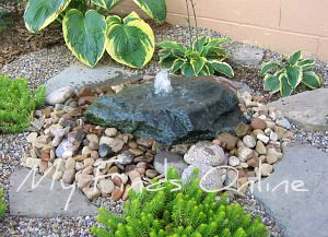 My DIY Natural Stone Garden Fountain   Myfindsonline.com