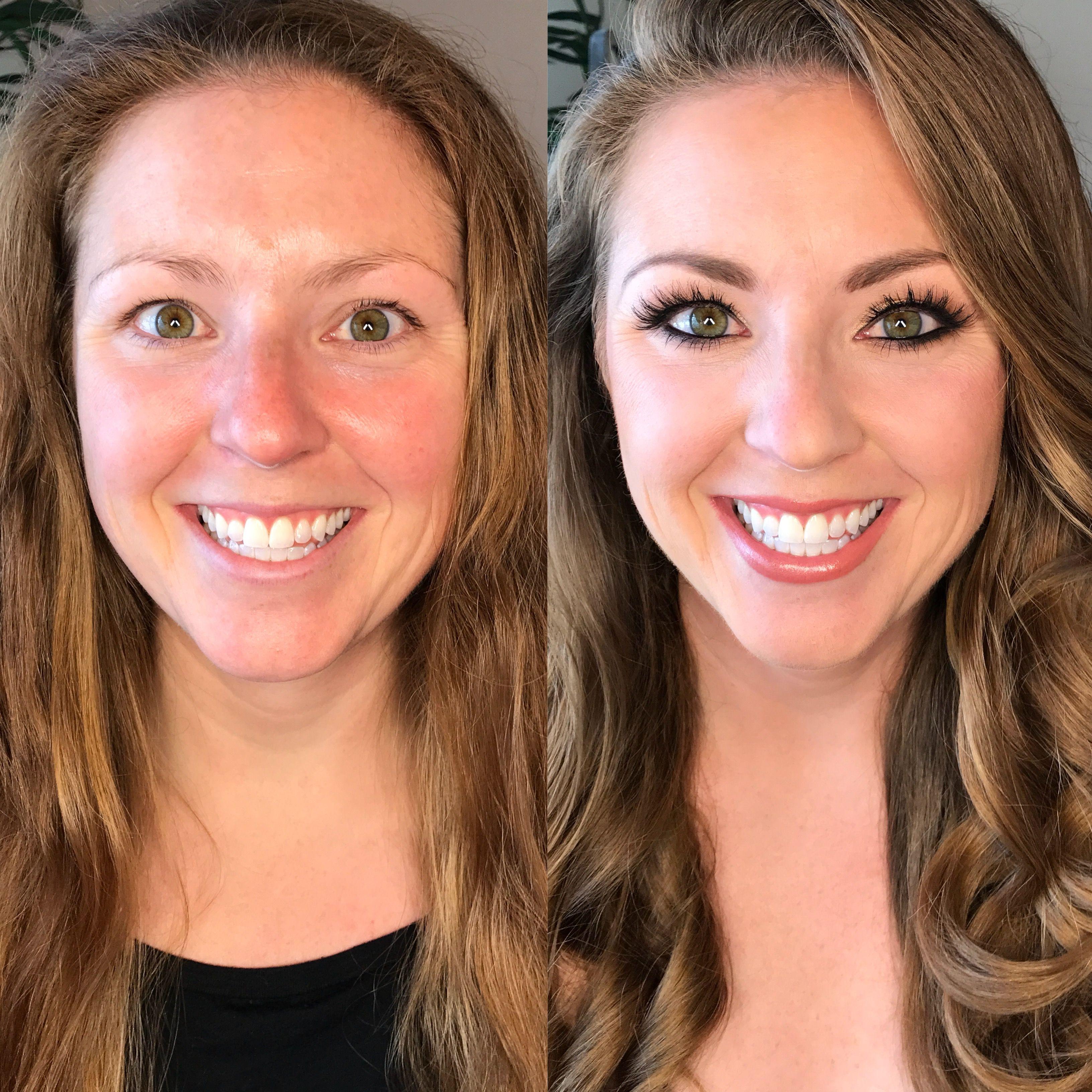 Before and after airbrush bridal wedding makeup natural