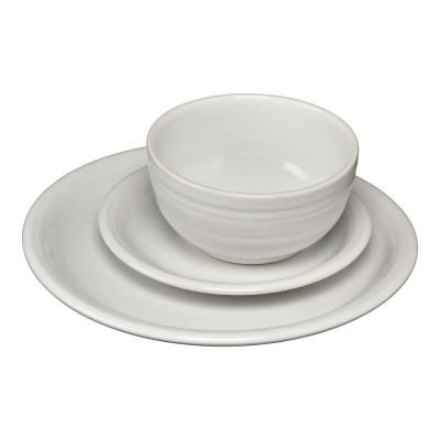 Service for 1 Mikasa Dine3 3-Piece Porcelain Place Setting White