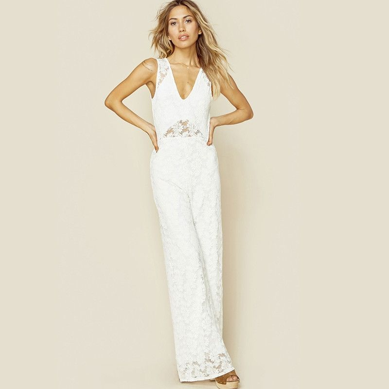 HDY Haodyoyi Solid Color Women Slim Jumpsuit V-neck Sleeveless High Waist Jumpsuit Women Hollowed-out Backless Lace Jumpsuit