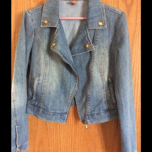 Jean jacket Distressed light jean jacket. Never worn. Jou Jou Jackets & Coats Jean Jackets