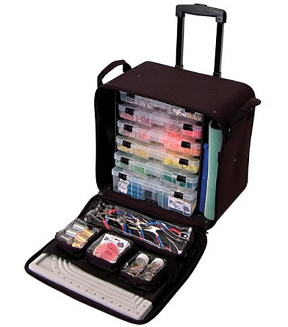 Craft box on wheels - Amazon Com Crop In Style Rolling Bead Tote Black Arts Crafts