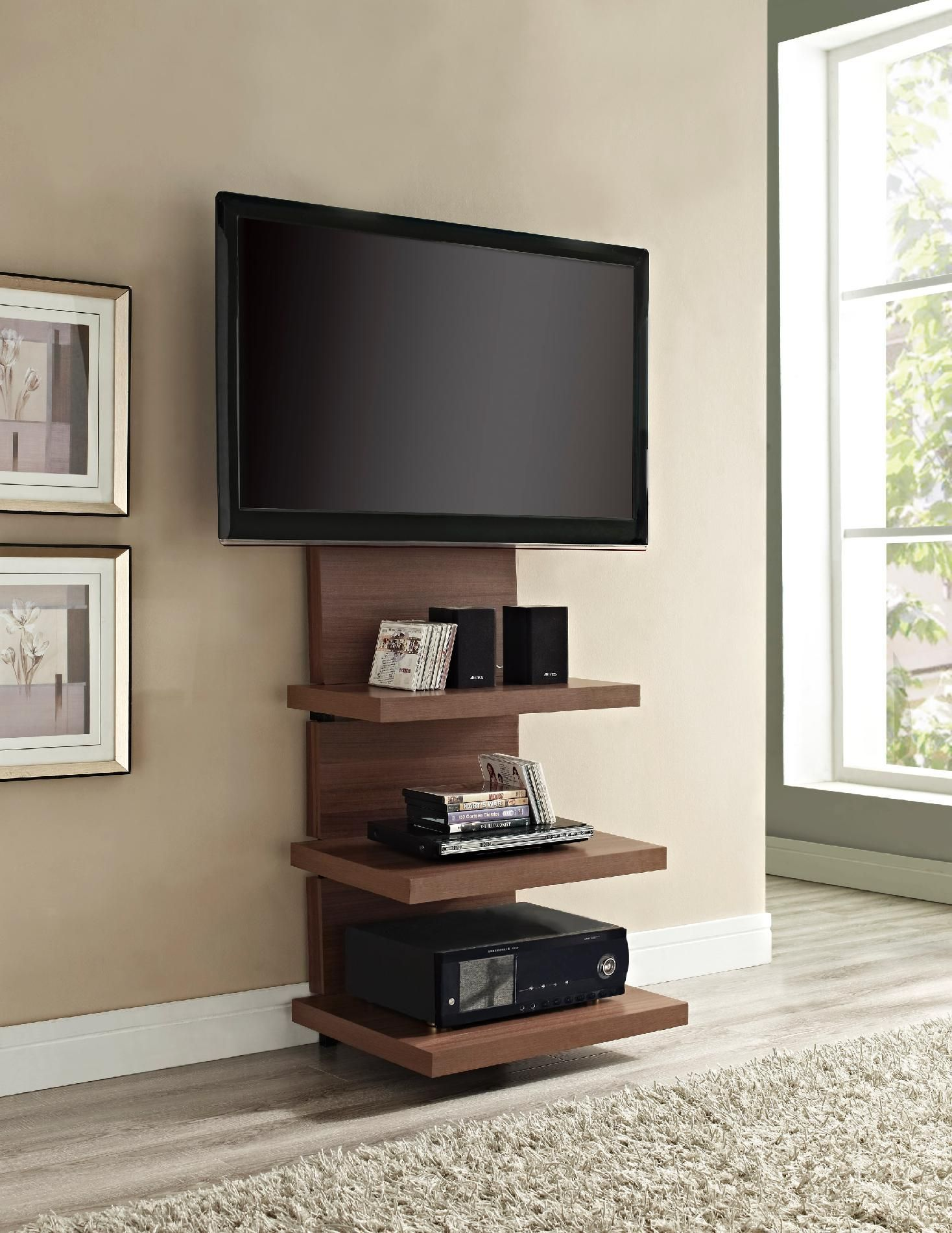 Dorel Home Furnishings Elevation Walnut Altramount Tv Stand  # Meuble Support Tv