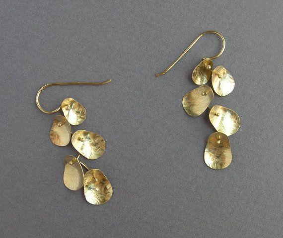 Solid Gold Dangle Earrings Leaves Earrings 14k Gold Etsy Gold Earrings Dangle Solid Gold Jewelry Leaf Earrings