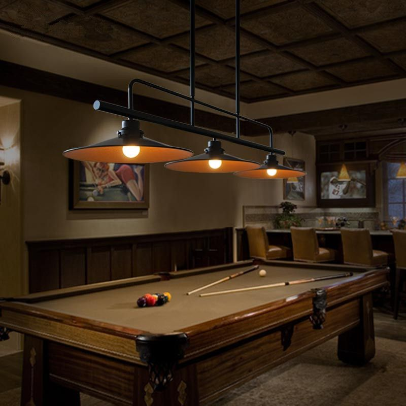 Matte Black Vintage Iron Island Light Without Lens Shades. Pool Table ...