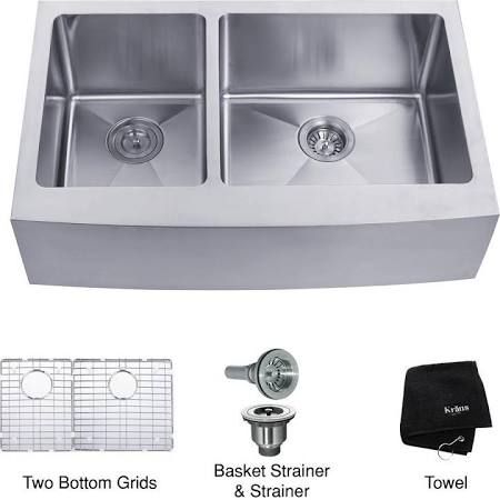 Farmhouse Sink Kraus Khf204 33 Stainless Steel Double Bowl Kitchen Sink Sink Apron Front Stainless Steel Kitchen Sink