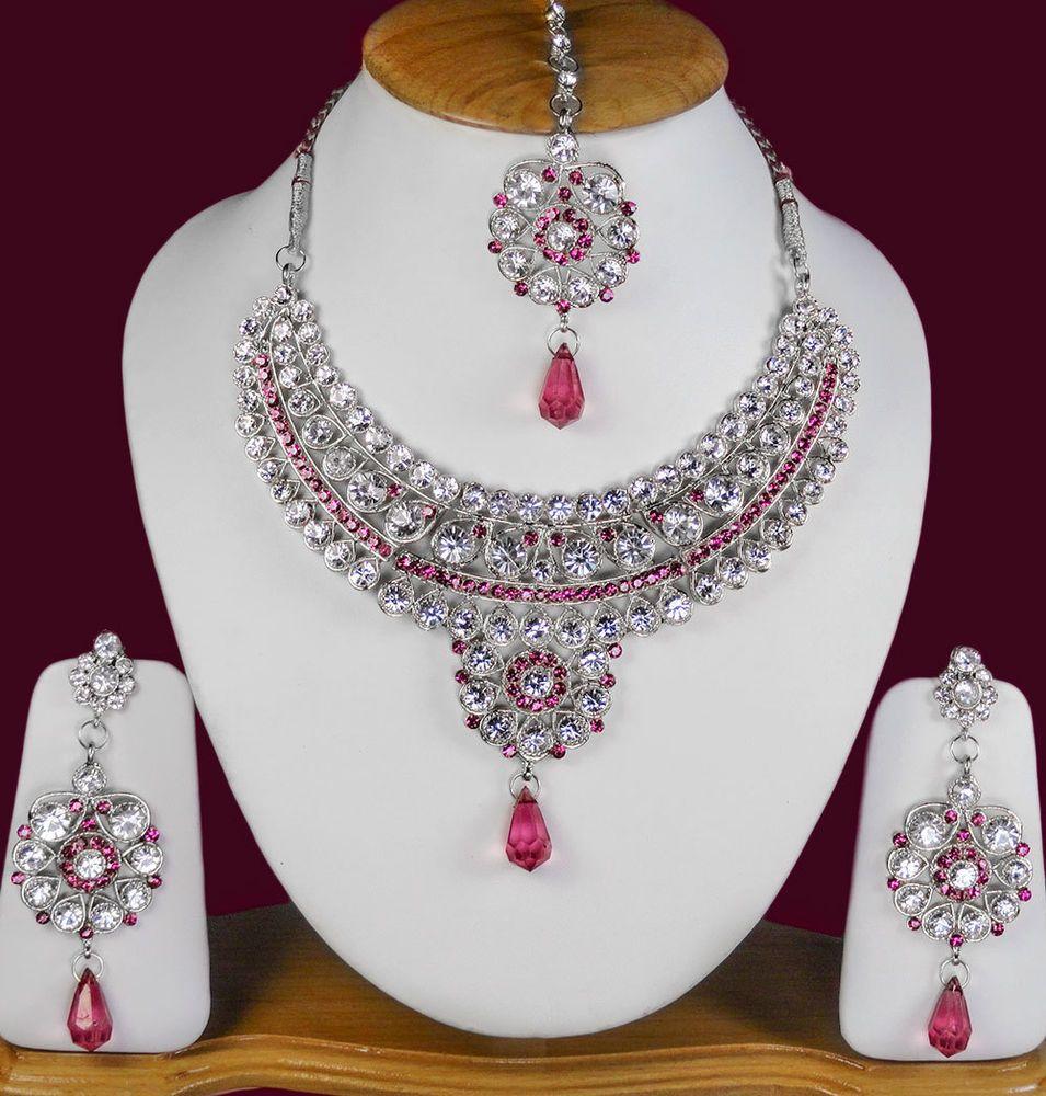 Indian Fashion Jewelry Bollywood Bridal Gold Plated Cz: Alloy CZ Indian Silver Plated Bollywood Wedding Jewellery