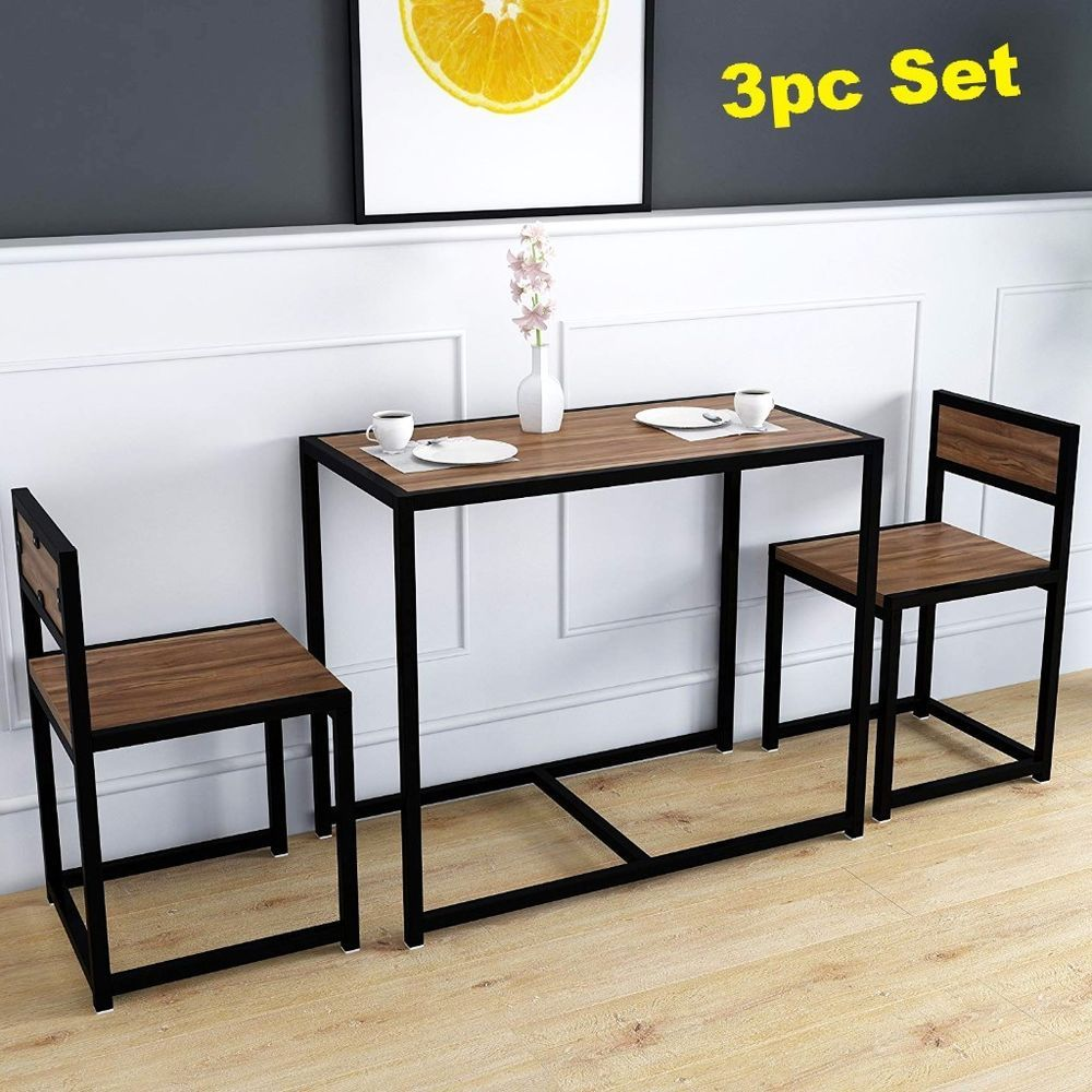 Dining Table 2 Chairs Set Small Kitchen Breakfast Bar Pub Black Steel Furniture Furniture Furnitur Dining Table