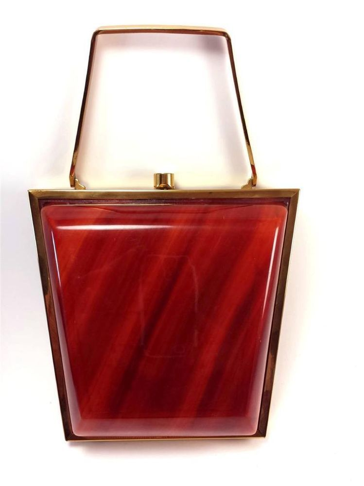 VINTAGE ART DECO BRASS & BAKELITE - LUCITE / CARAMEL SWIRL PLASTIC PURSE VG NR in Clothing, Shoes & Accessories   eBay