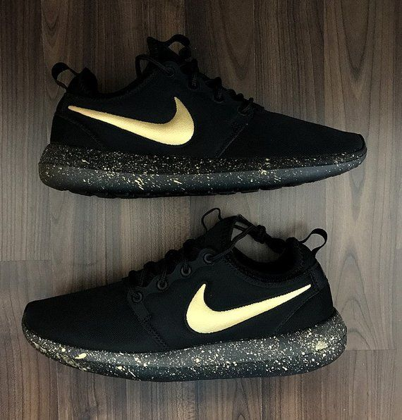 Nike Roshe Run Black with Custom Gold