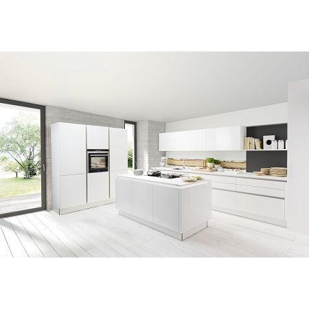 Nolte 2 Zeilen Mit Kochinsel Nova Lack Weiß Hochglanz | Küche