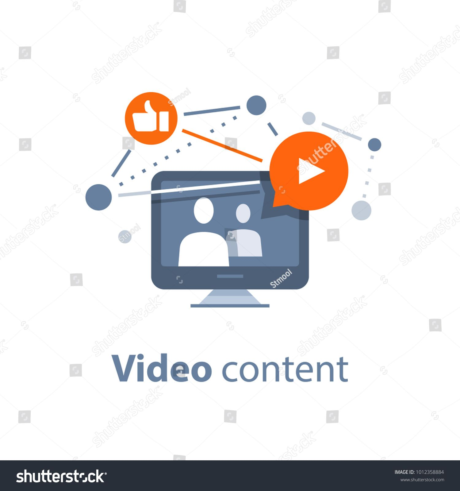 Video blogging concept, watching stream tv, viral video, internet marketing and advertising, vector illustration, flat icon #Ad , #spon, #stream#tv#viral#watching