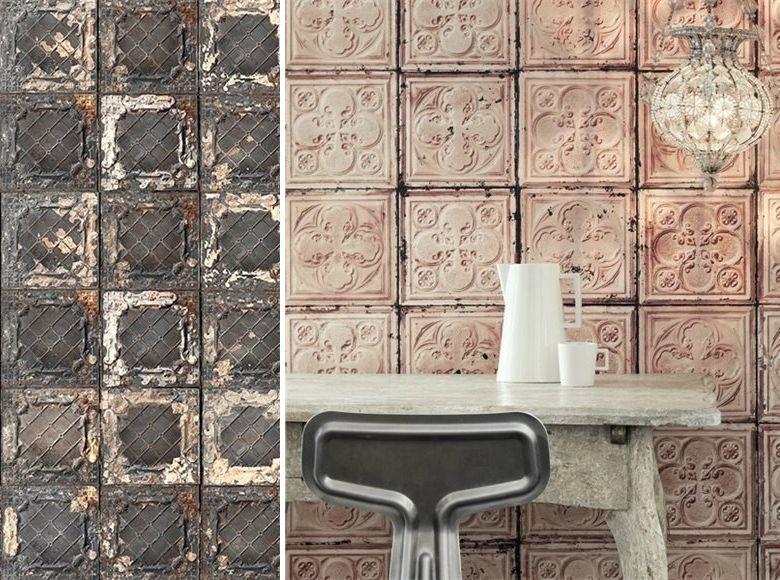 papier peint trompe l 39 oeil brooklyn tins nlxl by arte. Black Bedroom Furniture Sets. Home Design Ideas